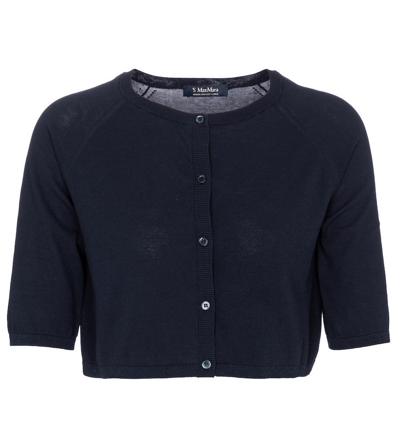 S Max Mara Orlanda cropped cotton cardigan in blue