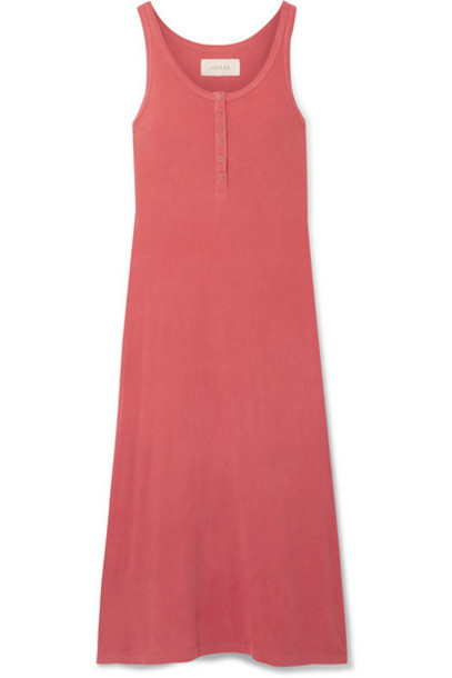 The Great - The Snap Tank Cotton-jersey Midi Dress - Coral