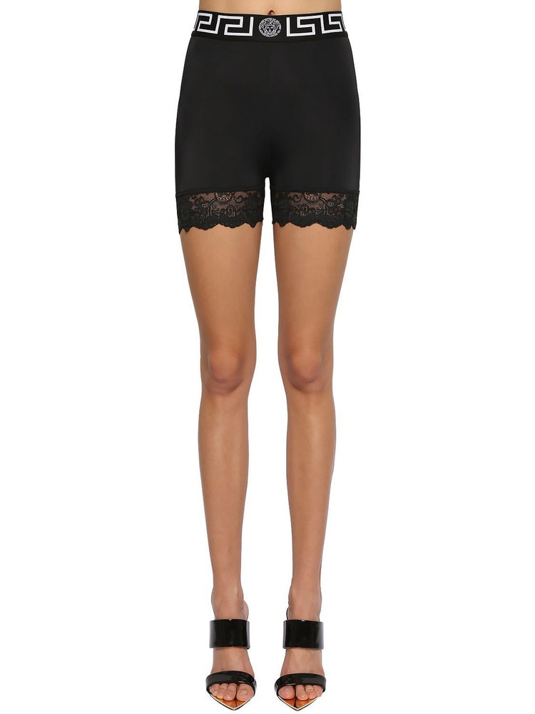 VERSACE Stretch Lycra Cycling Shorts W/lace in black