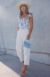 top,light blue,rocky barnes,instagram,pants,summer top,summer outfits,blogger,tank top,floral tank top,white sandals,white pants,high waisted pants,handbag