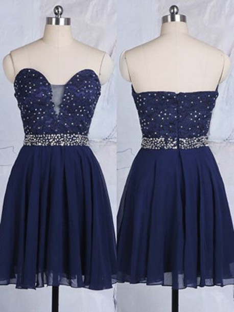 dress short prom dress fashion navy style sparkle strapless short homecoming dress dressofgirl