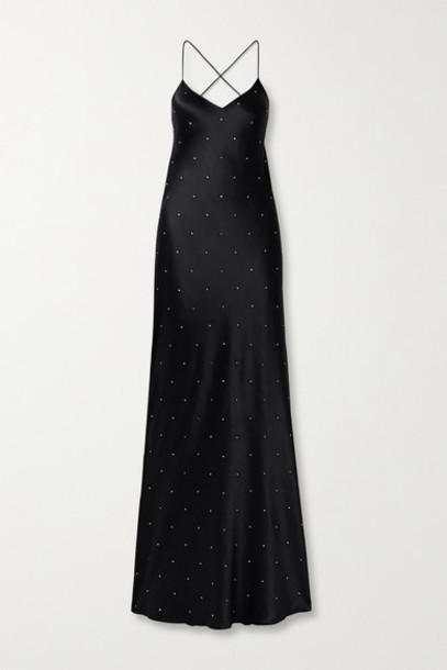 Michelle Mason - Open-back Crystal-embellished Silk-satin Gown - Black