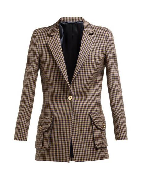 Blazé Milano - Timeless Single Breasted Check Wool Blazer - Womens - Cream Multi