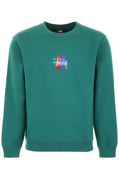 Stussy Flag Logo Sweatshirt in green