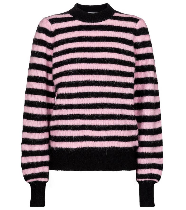 Ganni Striped alpaca hair and wool-blend sweater in black
