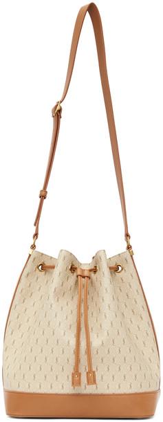 Saint Laurent Beige 'Le Monogramme' Bucket Bag in brown