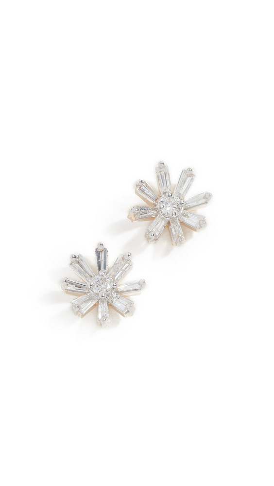 Adina Reyter 14k Diamond Baguette Flower Post Earrings in gold / yellow