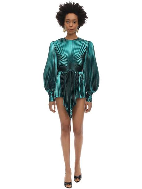 GUCCI Pleated Silk Blend Lurex Mini Dress in blue