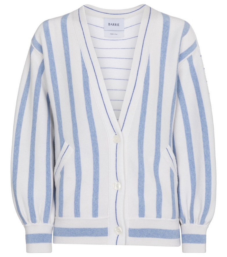 Barrie Striped cashmere and cotton cardigan in blue