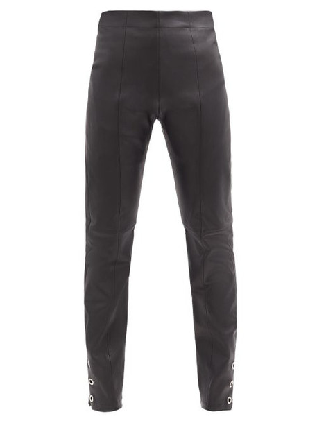 Ludovic De Saint Sernin - High-rise Eyelet Zip-cuff Leather Trousers - Womens - Black