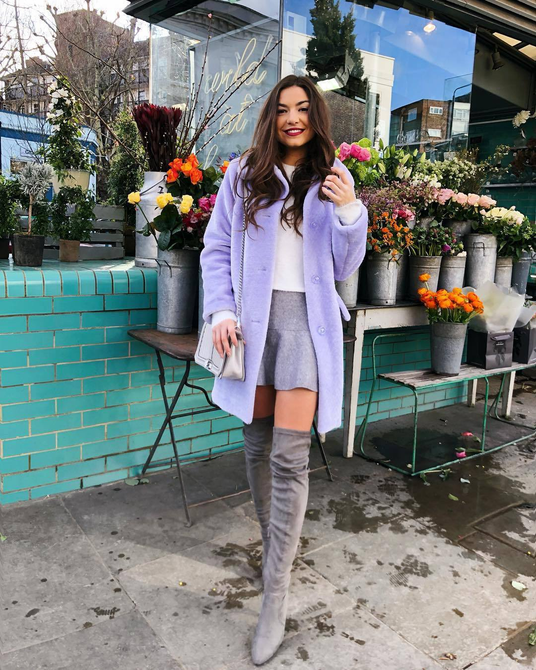 coat faux fur coat topshop over the knee boots suede boots mini skirt bag white sweater