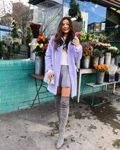 coat,faux fur coat,topshop,over the knee boots,suede boots,mini skirt,bag,white sweater