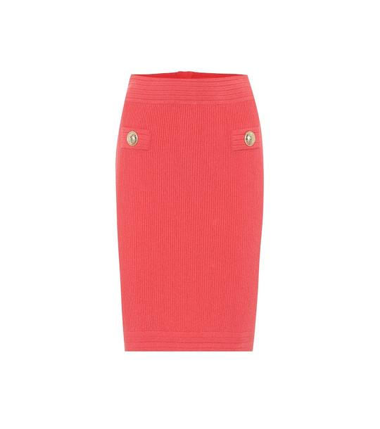 Balmain Knit midi pencil skirt in pink