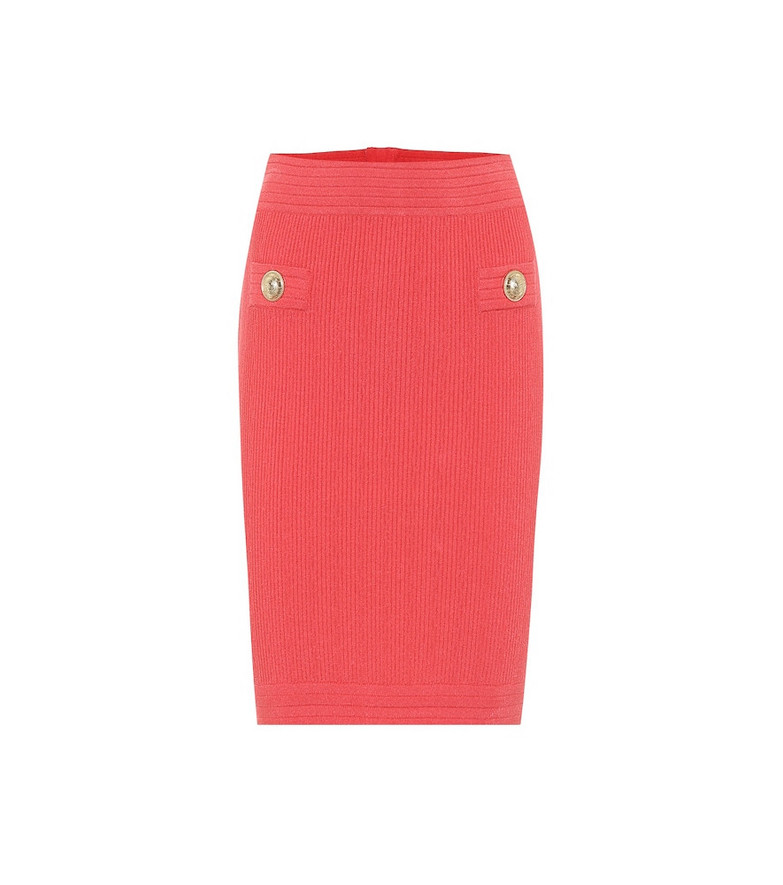 Balmain Knit midi pencil skirt in pink