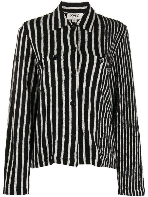 YMC striped cotton shirt in black