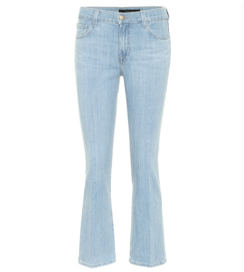 J Brand Selena mid-rise cropped jeans in blue