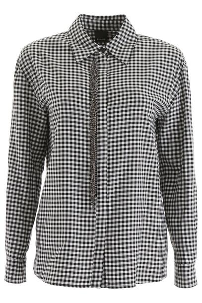 Pinko Gingham Shirt in nero / white