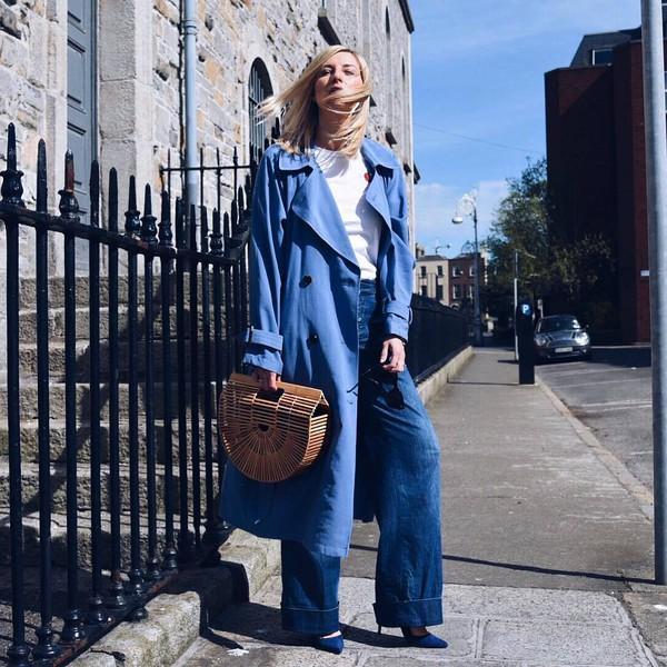 coat trench coat double breasted topshop long coat wide-leg pants pumps handbag wood white t-shirt