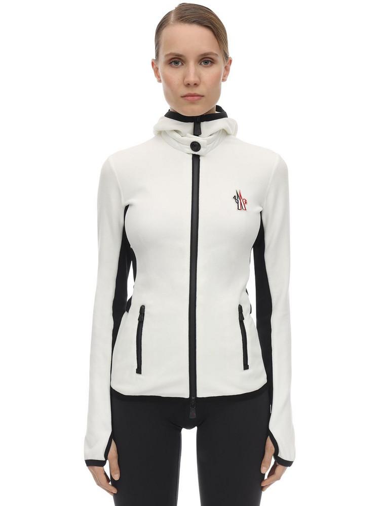 MONCLER GRENOBLE Stretch Polar Zip-up Jacket in white