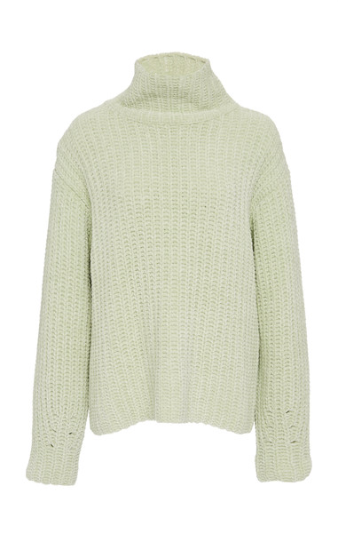 Sally LaPointe Velvet Cord Turtleneck Sweater Size: XS in green