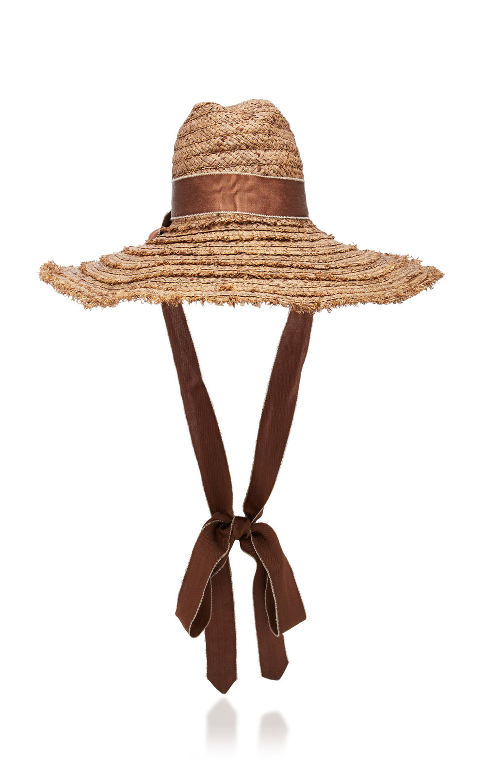 Filu Hats Mauritius Grosgrain-Trimmed Straw Hat in brown