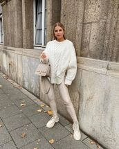 sweater,white sweater,cable knit,skinny pants,flat boots,bag