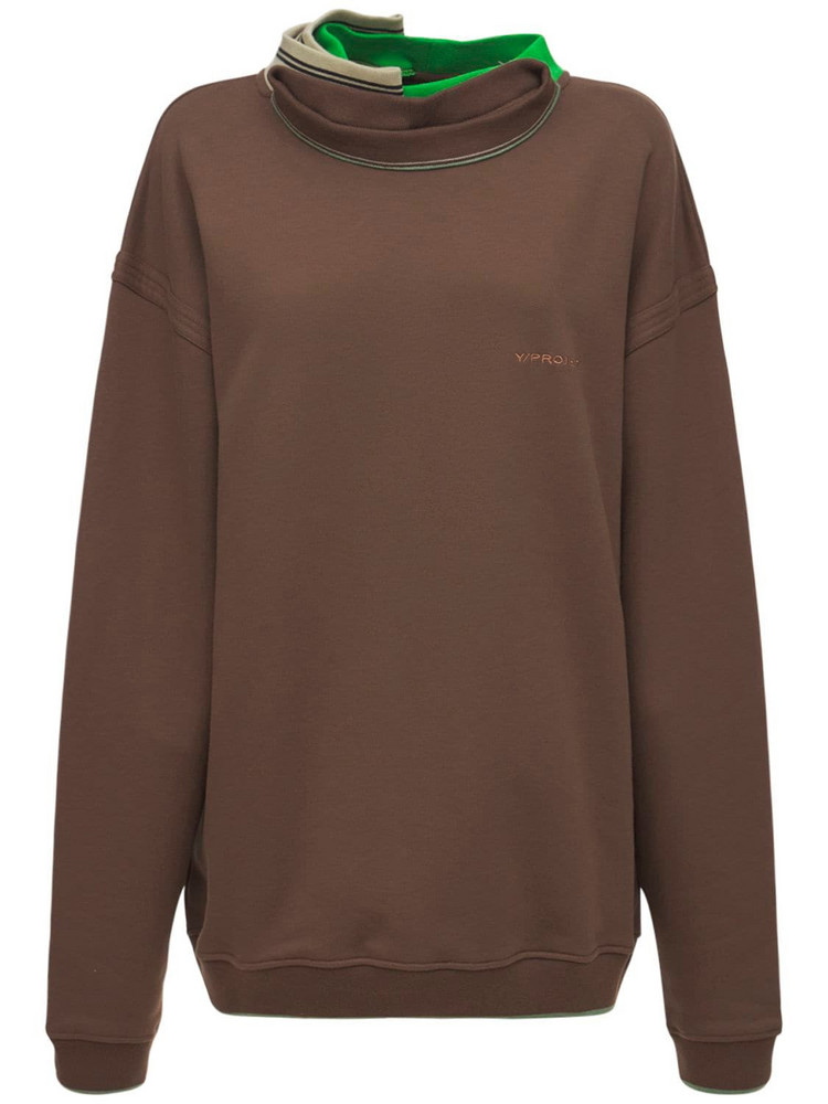 Y PROJECT Layered Cotton Jersey Sweatshirt in brown / multi