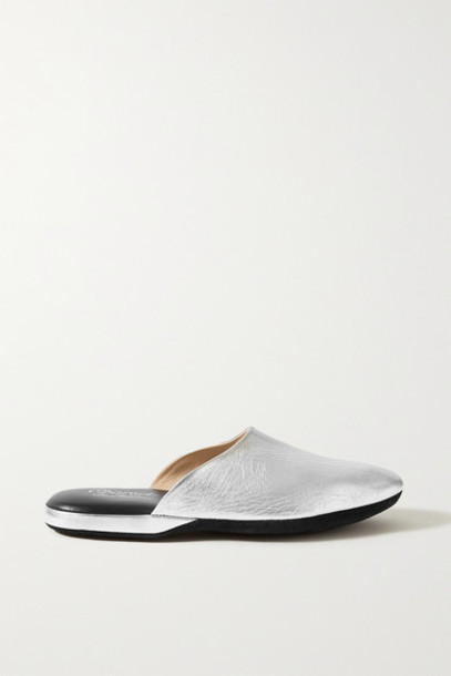 Charvet - Metallic Textured-leather Slippers - Silver