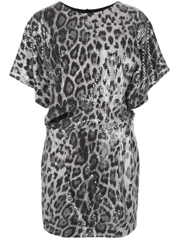 In The Mood For Love sequined animal print mini dress in grey
