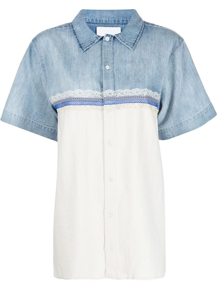 Koché Koché lace-trim panelled shirt - Blue