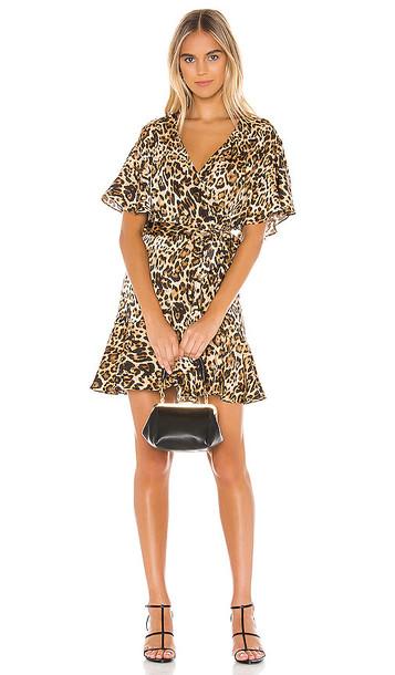BB Dakota Wild Card Wrap Dress in Brown