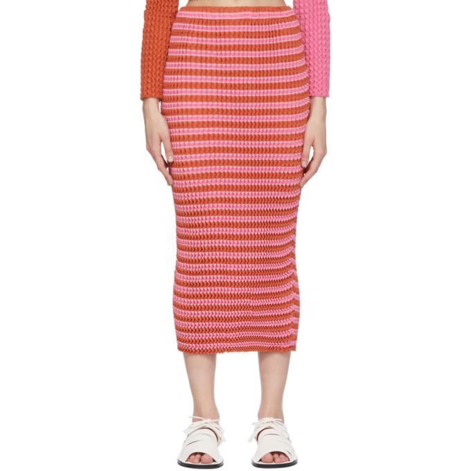 Issey Miyake Pink Striped Spongy Skirt in orange