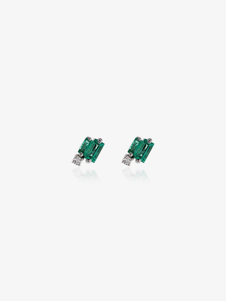 Suzanne Kalan 18K white gold emerald and diamond earrings