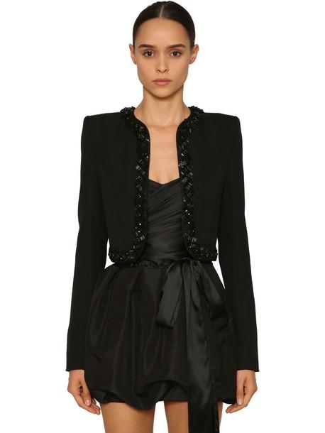 ALEXANDRE VAUTHIER Embellished Wool Gabardine Jacket in black