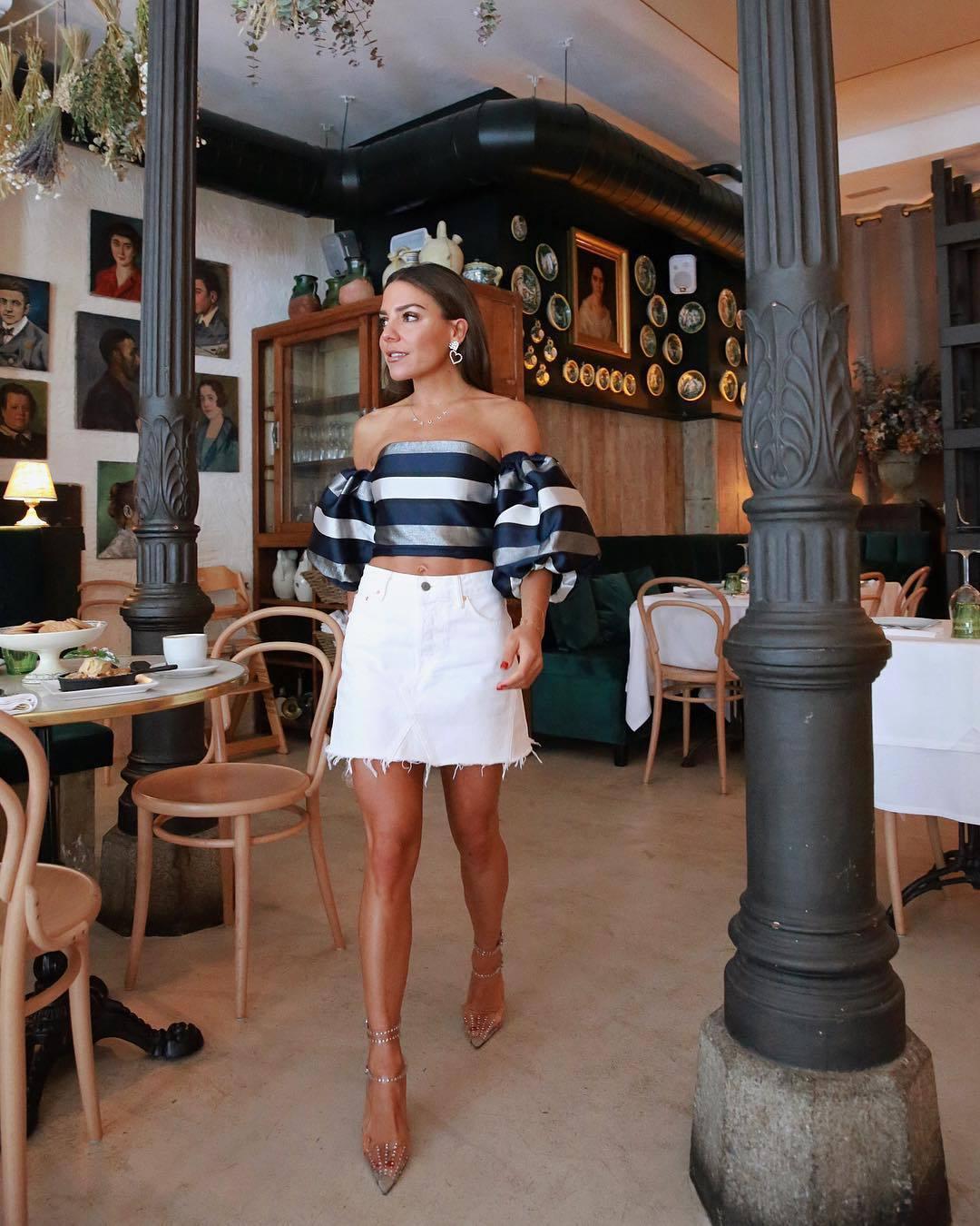 top crop tops striped top mini skirt denim skirt white skirt pumps