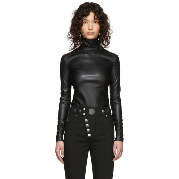 Alexander Wang Black Pleather Turtleneck Bodysuit