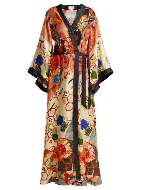 Camilla - Floral Print Silk Satin Kimono Wrap Dress - Womens - Orange Multi