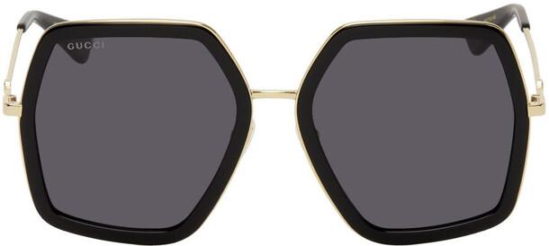 Gucci Gold & Black Oversized Angular Sunglasses