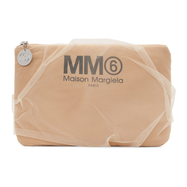 MM6 Maison Margiela Beige Tulle-Covered Pouch