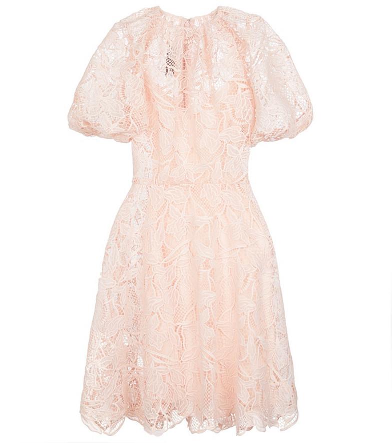 Monique Lhuillier Guipure lace minidress in pink