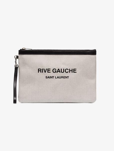 Saint Laurent cream Rive Gauche leather canvas pouch