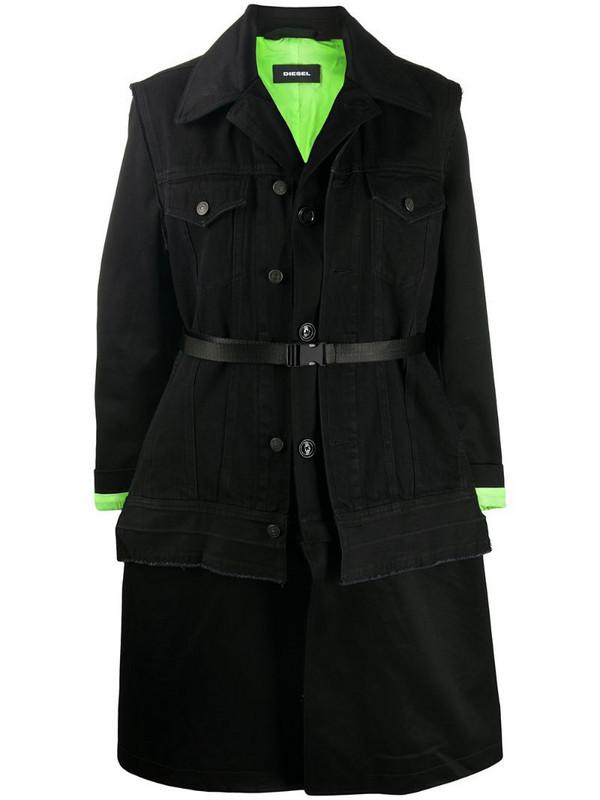Diesel W-Charie convertible coat in black