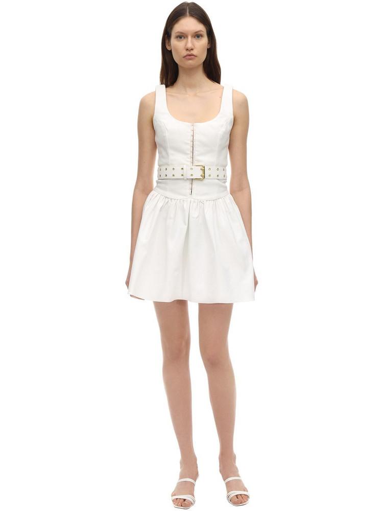 AYA MUSE Gaia Belted Poplin Dress in white