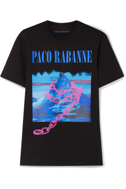 Paco Rabanne - Montagne Printed Cotton-jersey T-shirt - Black