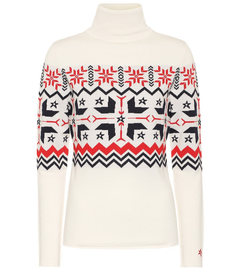 Perfect Moment Nordic roll-neck wool sweater in white