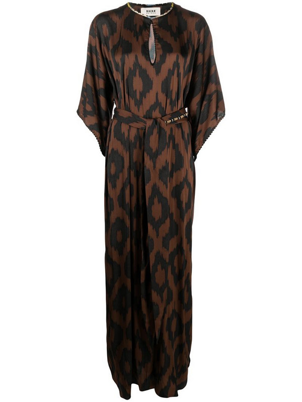 Bazar Deluxe belted graphic-print maxi dress in brown