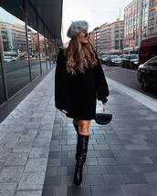 shoes,knee high boots,high heels boots,black bag,handbag,turtleneck dress,black sweater,knitted sweater,beret