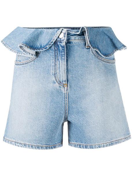 MSGM ruffled-waist denim shorts in blue