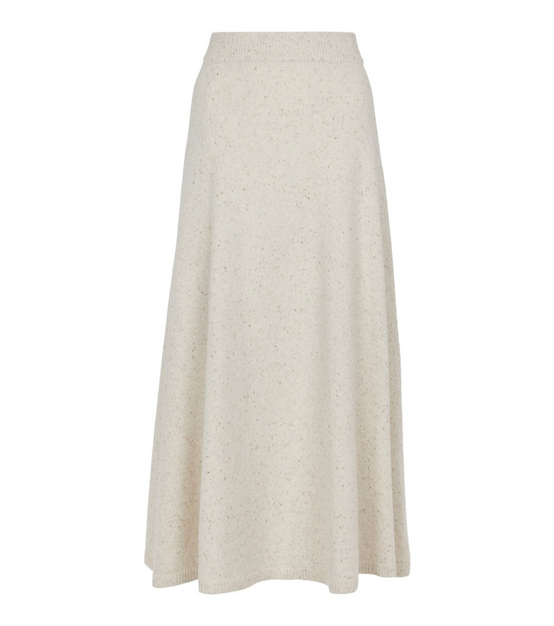 JOSEPH Tweed wool-blend midi skirt in white