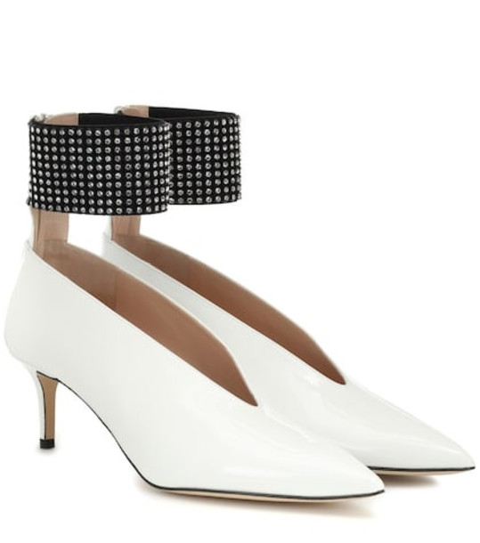 Christopher Kane Embellished patent leather pumps in white